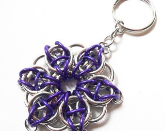 Chainmaille key chain, Celtic Visions star, Large, Silver and purple