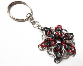 Key chain, Chainmaille, Celtic Visions Star, Black, red, and silver