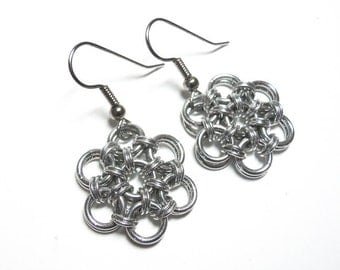 Silver flower earrings, Chainmaille, Aluminum, Japanese 12-in-2 weave