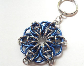 Chainmaille star keychain, Large, Blue and silver Celtic visions star
