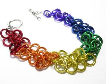 Gay Pride bracelet, Rainbow bracelet, Chainmaille, Shaggy Loops weave
