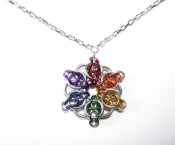 Gay Pride necklace, Star, Rainbow, Chainmaille, Celtic Visions Star