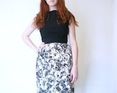 vintage 1950s mad men cocktail dress / 50s black floral fitted wiggle dress / size xs - small