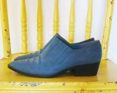 vintage 1980s dusty slate blue western booties / 80s southwest cowboy ankle boots / size 6.5