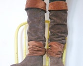 vintage 1980s over the knee boots / 80s suede extra tall pirate slouch boots / size 8