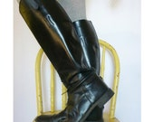 RESERVED. vintage 1970s tall black horse riding equestrian boots / 70s leather military lace up boots / size 9