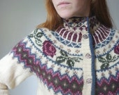vintage 1970s woolrich nordic ski lodge sweater / vintage 70s fair isle ski lodge cardigan / size small - medium