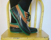 RESERVED. vintage 1980s rubber duck boots / 80s green and blue ankle booties / size 7