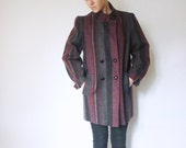 vintage 1970s striped wool coat / 70s purple, gray, and black winter jacket / size medium - large