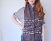 vintage 1970s wool pendleton scarf / 70s speckled purple ski lodge scarf
