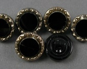 Vintage Czech Glass Buttons -  6 Silver Metallic on Black Glass