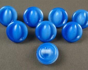 Vintage German  Glass Buttons - 8 Blue