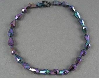 Czech Glass Faceted Fire Polish 7mm X 10mm Drops - Purple Iris