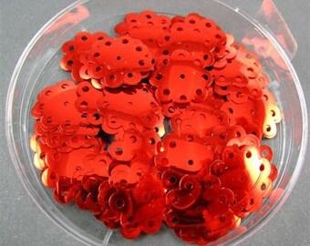 Vintage Sequins - Red  Flower Shape