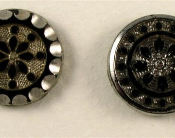 Vintage Glass Buttons - Black with Silver Metallic -2