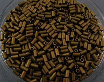 TOHO Size 1 Glass Bugle  Beads - Matte Brown
