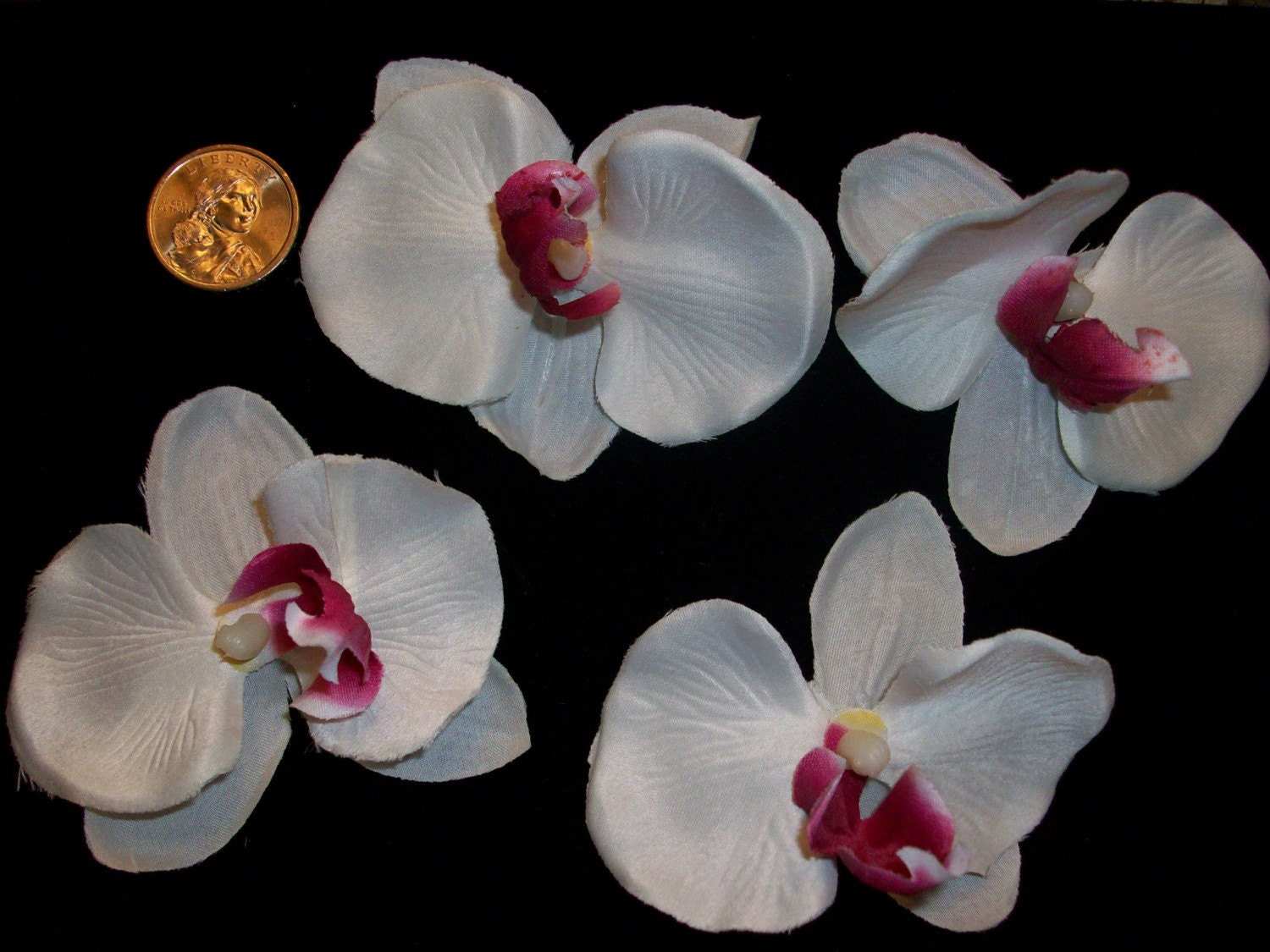 4 PC WHOLESALE LOT OF SILK ORCHID FLOWER HEADS by