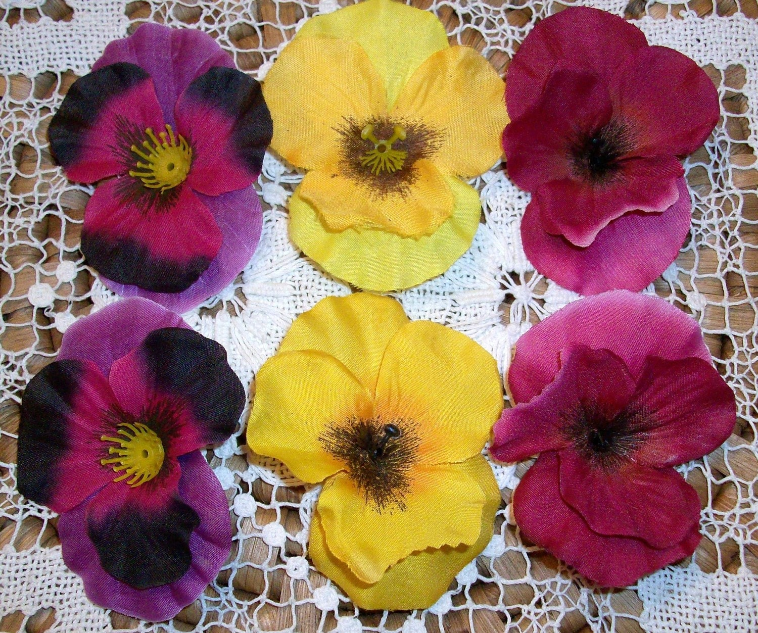 6 PC WHOLESALE LOT OF SILK PANSY FLOWER HEADS by VintageShindigz
