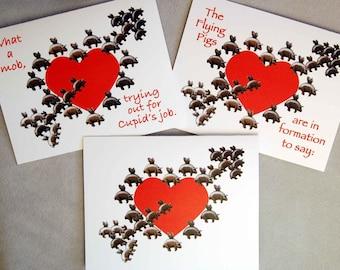 Flying Pigs Valentine's Day Cards, Valentine Day Card Set of Three, Funny Valentine's Day Cards, Pigasus Valentine Cards, Pierced Heart Card