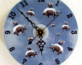 Flying Pigs CD Wall Clock - Blue, Purple, Sepia OR Gray, When Pigs Fly Clock, Pigs with Wings Wall Clock, Battery Operated Clock