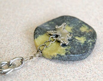 Pig With Wings Gemstone Necklace, Flying Pig Necklace, Pigasus Pendant