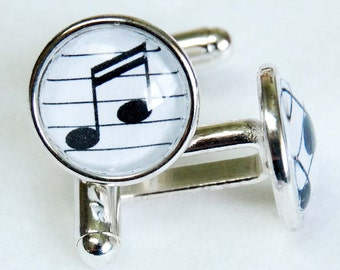 Sixteenth Note n Staff Cufflink Pair, Music Cufflinks, Music Note Cuff Links, Musician Gift, Music Teacher Gift, Silver Plated Cufflinks