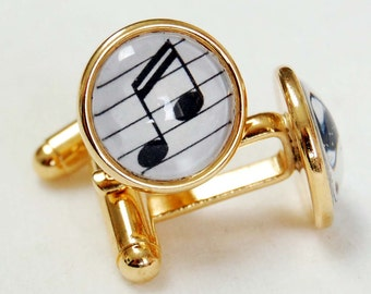 Gold Plated Music Note Cufflink Pair, Music Cuff Links, Sixteenth Note Cufflinks, Choice of Note Color