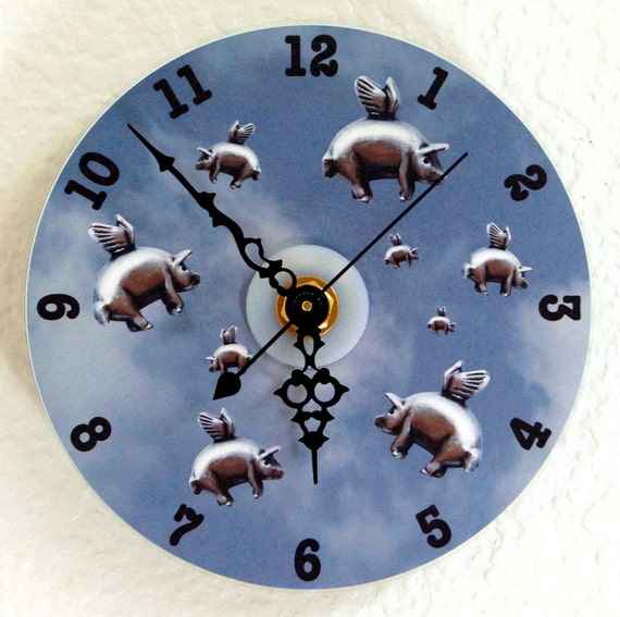 Flying Pigs CD Wall Clock - Blue, Purple, Sepia OR Gray, When Pigs Fly Clock