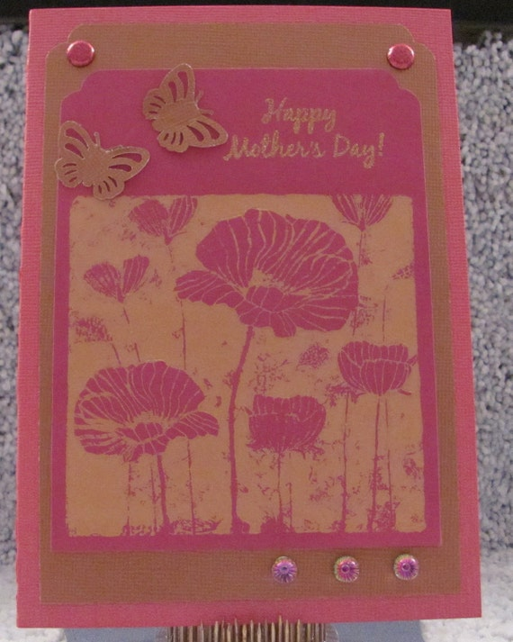 Pink and Gold Happy Mother's Day A7 Card Butterflies Metallic Mom Mommy Mothers Card