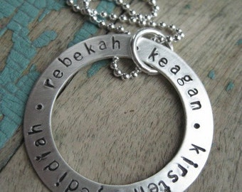 Personalized jewelry, stamped sterling washer necklace, kids name necklace, mothers necklace, personalized grandma necklace, gift for mom