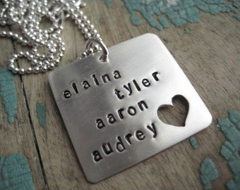 Personalized jewelry, kids name necklace, sterling silver  hand stamped jewelry, personalized gift for mom, grandma gift,  heart necklace