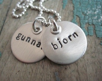 Personalized riveted names necklace