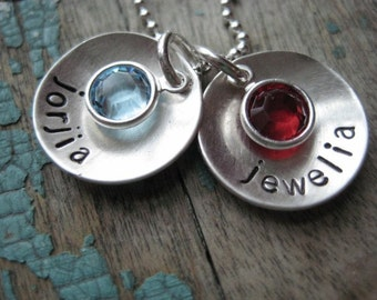 Personalized sterling silver birthstone name discs necklace