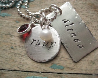 Personalized sterling silver hand stamped hammered tag and disc necklace with birthstones