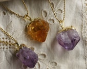 Gold Dipped Amethyst Crystal - Rough Cut Point