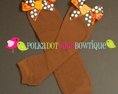 FALL Leg Warmers in Chocolate with Orange Red Chocolate Polka Dot Double Bows for Little Baby Girls