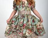 Girls Vintage-Inspired Dress, Easter Dress, Children Clothing, Toddler Easter Dress, Child, Girls, size 2T 3T 4T 5 6 7 8 9 10, Red, Green