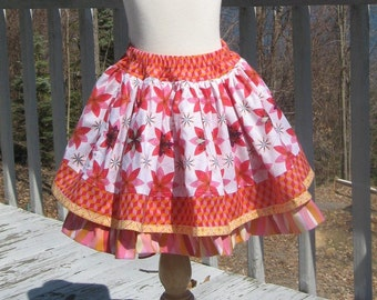 Starburst Girl's Twirly Skirt, Toddler Skirt, Easter clothes, Ruffled Petticoat, Size 2T 3 4 5 6 7 8