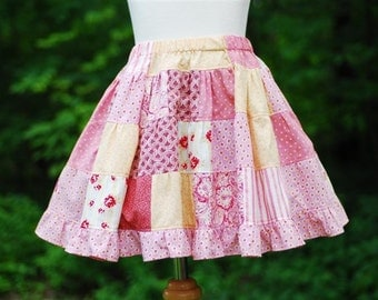 Girl's Patchwork Quilt Skirt...Handmade Pink Patchwork Ruffle Skirt, Toddler Skirt, Girl Skirt, Twirly Skirt, Pink Skirt, Size 2 3 4 5 6 7 8