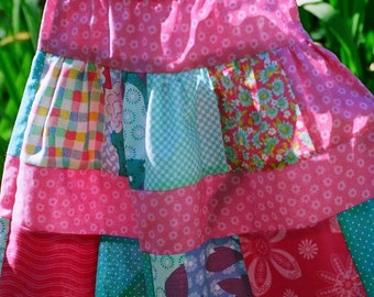 Bubblegum Patchwork Skirt...Handmade, Girl Skirts, Toddler Skirt, Children, pink skirt, size 2 3 4 5 6 7 8