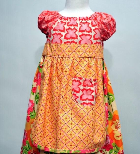 Girl's Apron Dress, Peasant Dress, Children Clothing, Girls Dresses, Toddler dress, Baby girl dress, pink dress, Size 1-2, 2T 3 4 5 6 7 8