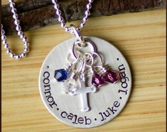 Personalized Birthstone Necklace - Multiple Names Necklace - Sterling Silver Jewelry - Mom Necklace - Grandma Necklace - foure children
