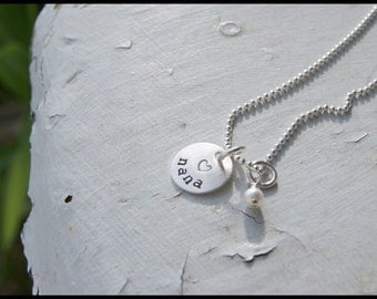 Mother's Day Gift, Handstamped Sterling Dainty Heart Personalized Nana Necklace