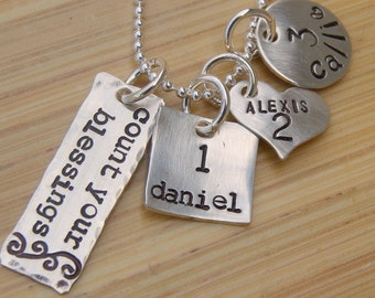 Count Your Blessings Name and Number Necklace, Hand Stamped Sterling Silver Mommy Jewelry, Grandma Necklace