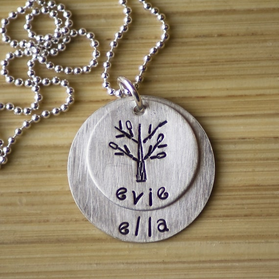 CUSTOM Hand Stamped Layered Discs Names Necklace with a Family Tree by Tag Youre It on Etsy