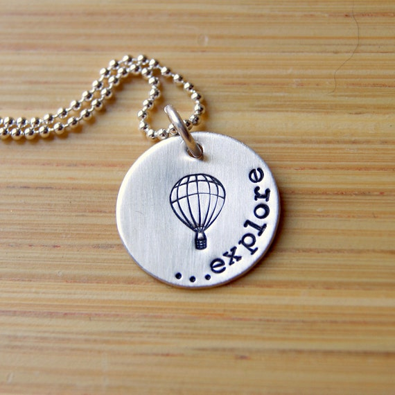 Hot Air Balloon Necklace - Explore Necklace - Graduation Gift - Gift for her - Sterling Silver Explore Necklace - Balloon Necklace