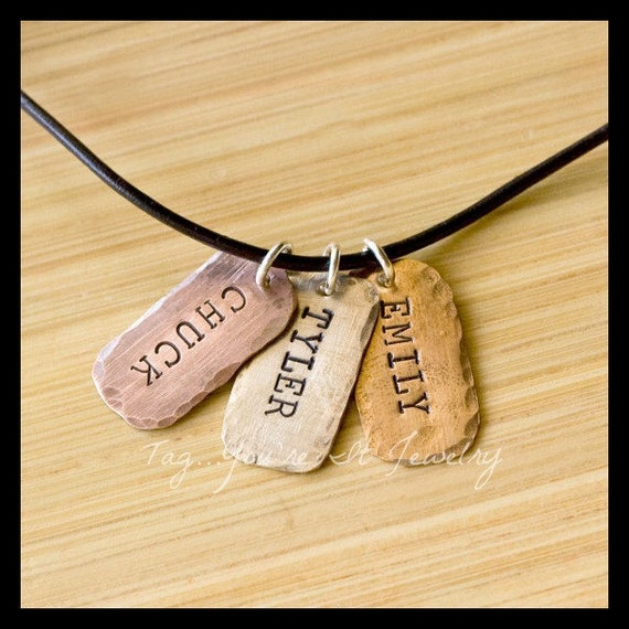 Childrens Names Mens Necklace  - mixed metal dogtag necklace - gift for him - father's day necklace - daddy necklace - dad necklace
