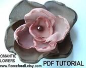Romantic Fabric Flowers PDF pattern tutorial - Instant Download  FF145