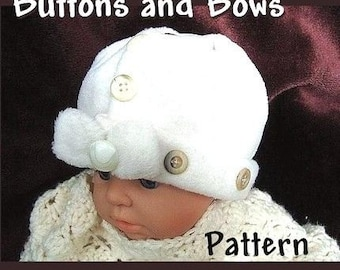 SEWING PATTERN, number 1, Newborn to Adult Sizes, Buttons and Bows Hat..no sewing machine required - Instant Download