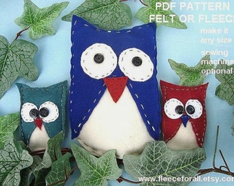 FF16 STUFFED OWL pdf tutorial sewing pattern, make it any size - Instant Download